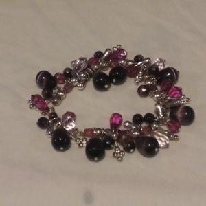 Glass Bead Amethyst Bracelet